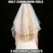 Girls 2 Tier White First Holy Communion Veil Diamante Crystals Wedding Girl New