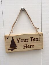 Handmade Personalised Rustic Wooden Boat House Sailing Den Nautical Sign Plaque