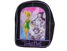 """Backpack 10.5"""" Disney Tinkerbell Fairies Black Purple School Bag NWT"""