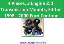 4 Pcs, 3 Engine & 1 Transmission Mount, Fit for 1998 1999 2000 Ford Contour 2.5L
