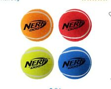 Nerf Dog Squeaker Tennis Balls (4 Pack) For Small/Petite Dogs, Durable- NEW-CJ10