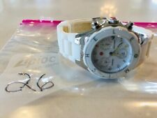 MICHELE TAHITIAN JELLY BEAN WHITE SILVER SILICONE CHRONO 36mm WATCH-MWW12D000001