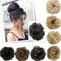 Real Natural Curly Messy Bun Hair Piece Scrunchie New Fake Hair pl