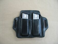 Sig Sauer P226 226 9mm / .40 Leather 2 Slot Molded Pancake Belt Mag Pouch BLACK