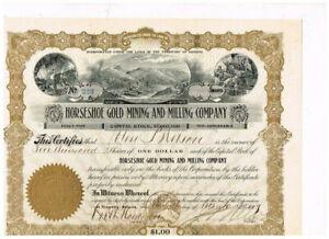 Horseshoe Gold Mining and Mining Co., 1909, Territory of Arizona, 5000 shares, V