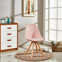 4x Piramide Dining Chair, Eiffel Inspired, Solid Wood ABS Plastic, Padded Seat