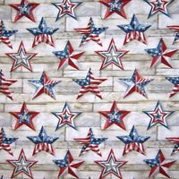 Patriotic Fabric - Texas Stars Red White & Blue on Wood Print - Cotton YARD