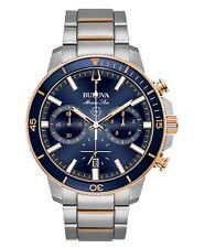 Bulova 98B301 Men's Marine Star Two Tone Stainless Steel Blue Dial 45mm Watch
