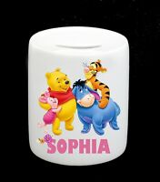Personalised Winnie the Pooh Money Box Piggy Bank  Girl Birthday Christmas