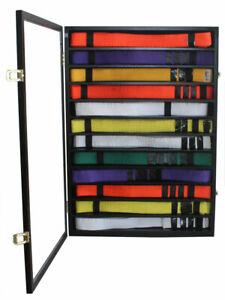 12 Rows Karate Taekwondo Martial Art Belt Display Case Wall Cabinet Stand
