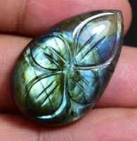 31.45 Ct 100% Natural Fire Labradorite Certified Carving Pear Untreated Gemstone