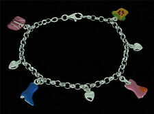 925 Sterling Silver Ladies Handbag Clothes Boots Charm Bracelet In Gift Box