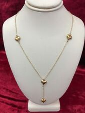 14kt yellow gold Y necklace with hearts 16""