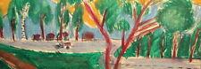 Vintage pastel painting expressionist landscape