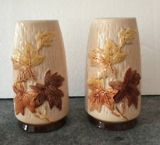 "2 Vintage Sylvac Maple Leaf Design Vases 4010 - 6"" Tall"