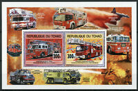 Chad 2013 MNH European & American Fire Engines Trucks 2v Deluxe M/S Stamps