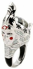 ALAN K. EXQUISITE COLLECTION FACETED BLACK AND WHITE MURANO GLASS GONDOLA RING