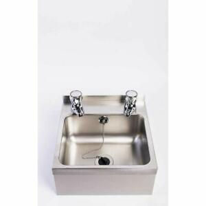 Compact wall mounted stainless steel hand wash basin sink and taps large bowl