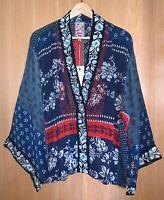 Johnny Was Size XL Esme Kimono Blue & Red Rayon Embroidered Jacket NWT $275