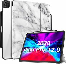 """For iPad Pro 12.9"""" 2020 & 2018 Smart Case Crystal Clear Back Cover Pencil Holder"""