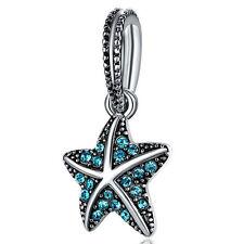 1Pcs Fashion Blue Crystal Star Silver Pendant bead For Bracelet/Necklace