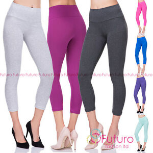 High Waist Cropped 3/4 Length Cotton Capri Leggings with Control Panel LWP34