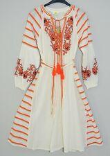 SOLITO Australia Kleid Tunika Hippi Stickerei 70er weiß orange Gr.S neu midi