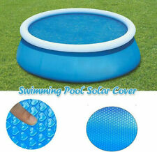 Pool Solar Cover Round Swimming Paddling Family Easy Fast Set Blue 8/10/12/15ft