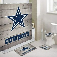 Dallas Cowboys Bathroom Rugs Set 4PCS Shower Curtain Bath Mat Toilet Lid Cover