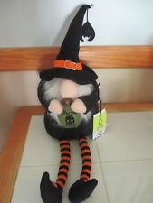NWT Halloween Gnome Witch Wizard Shelf Sitter, Poison, Hat with Bat!