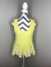 NWT Anthropologie Moth Yellow Sweater Knit Sleeveless Top Blouse Shirt Medium M
