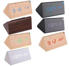 Voice Control Calendar Thermometer Wooden LED Digital Alarm Clock USB/AAA UK
