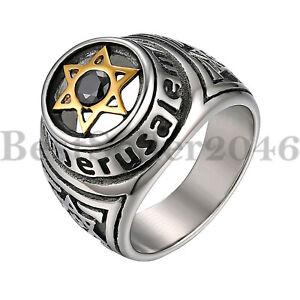 Mens Stainless Steel Star of David Hexagram Religious Ring Biker Band Size 7-12