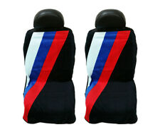 Seat Armour Universal Black Towel Front Seat Covers with BMW Three Stripes -Pair