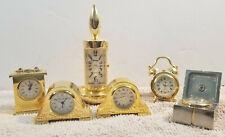 Lot of 6 Mini Clocks Gold Tone miniature clock