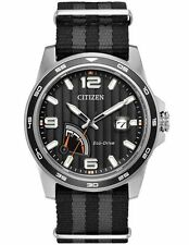 Citizen AW7030-06E Men's Eco Drive PRT Power Reserve Slip-Thru Nylon Strap Watch