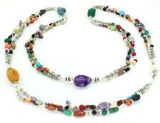 Necklace natural amethyst green onyx citrine moonstone garnet multi gemstone 99g