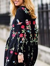 ZARA BLACK EMBROIDERED LONG SLEEVE DRESS SIZE: S