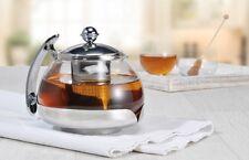 Edelstahl Teekanne Teekocher Tee Bereiter Glaskanne Kanne Glas mit Teesieb 1,2L