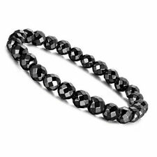 8mm Magnetic Hematite Faceted Black Beads Gem Stretch Therapy Bracelet