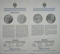 Drittes Reich Lot 2 x Echtheits Zertifikat 2 RM 1933 Luther & 5 RM Hindenburg
