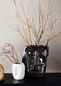Black Picasso Face Vase / Plant Pot Planter / Glazed Ceramic Head