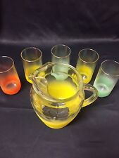 EUC Vintage Frosted Glass Blendo Pitcher Set With 5 Glasses