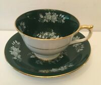 Aynsley Tea Cup & Saucer Green White Cabbage Rose Bone China England 244B