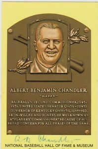 SIGNED A.B. HAPPY CHANDLER AUTOGRAPHED HALL OF FAME PLAQUE - DECEASED 1991 COA