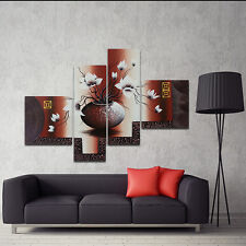 Original Abstract Hand Paint Canvas Oil Painting Brown Flowers Wall Art Framed