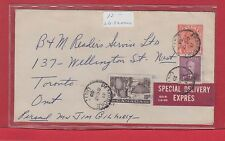 Special Delivery Expres label 1950 for 1953 uprated Canada cover