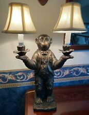 Vintage Monkey Lamp with Candelabras