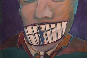 Large surrealist portrait gouache painting voting poster
