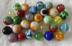 Lot Of 30 Vintage Glass Marbles Peltier Akro Marble King Hybrid Vitro Agate etc